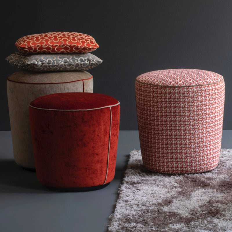 Christine Kröncke pouffe with DEDAR fabric