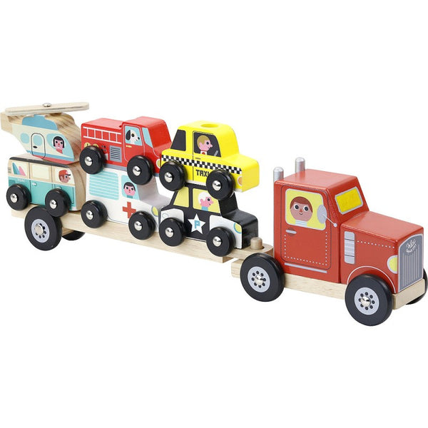 Lesena natikanka Tovornjak z vozili Vilac Truck and trailer with vehicles stacking game - Ingela P.Arrhenius