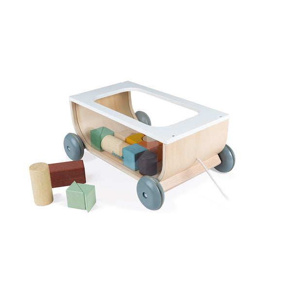 Lesen voziček s kockami Janod Sweet Cocoon Cart With Blocks