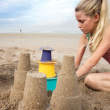 Model za oblikovanje tronadstropnega stolpa Quut Alto Sandcastle builder - Lagoon Green, yellow, purple