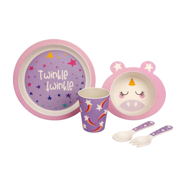 Otroški jedilni set iz bambusa Sunnylife Kids Eco Meal Kit - Unicorn
