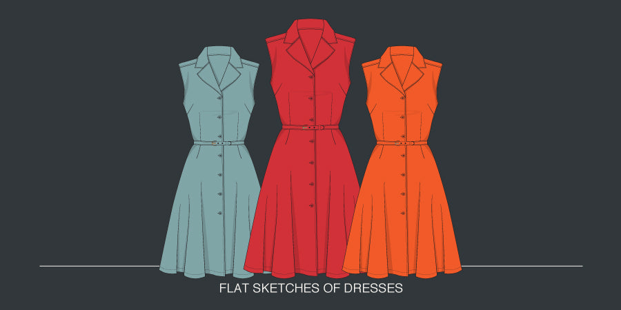Flat Sketches Of Dresses