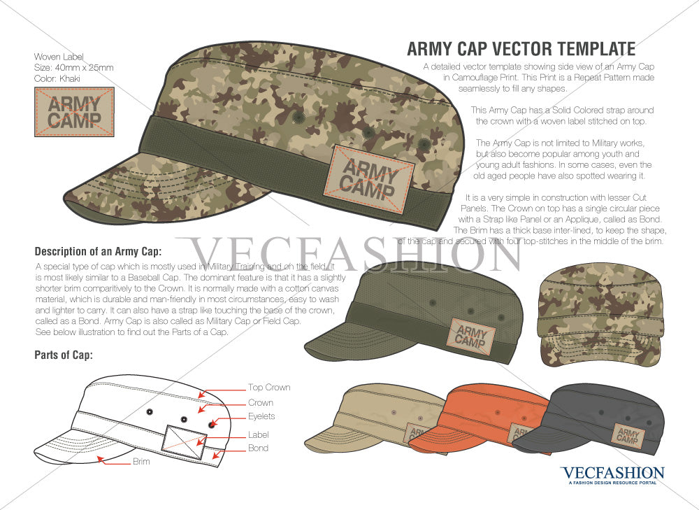 army flat cap vector template