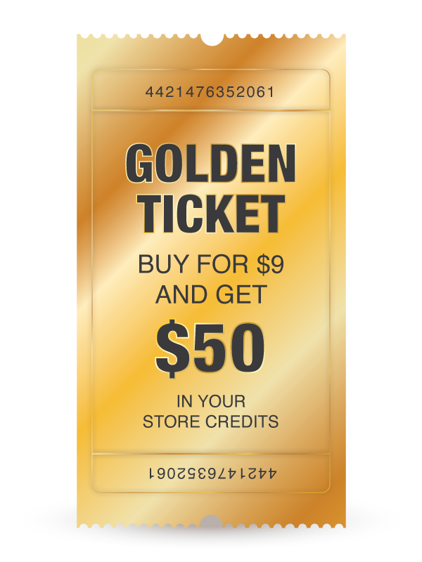 buy golden ticket and get 50 dollars free store credit