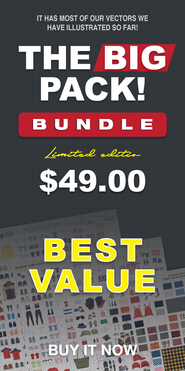 the big pack bundle offer - vector apparel templates fashion flats