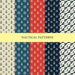Set of 5 Nautical Inspired Repeat Patterns