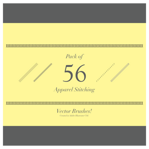 Pack of 56 Apparel Stitching Vector Brushes