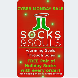 FREE Pair of Holiday Socks with each $25 order today for #CyberMonday