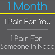 1 Month Sock Subscription - 1 pair of socks for you, 1 pair of socks given to someone in need!