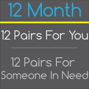 12 Month Sock Subscription - 12 pairs for you, 12 pairs given to someone in need!