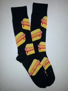Hot Dog Black Crew Socks