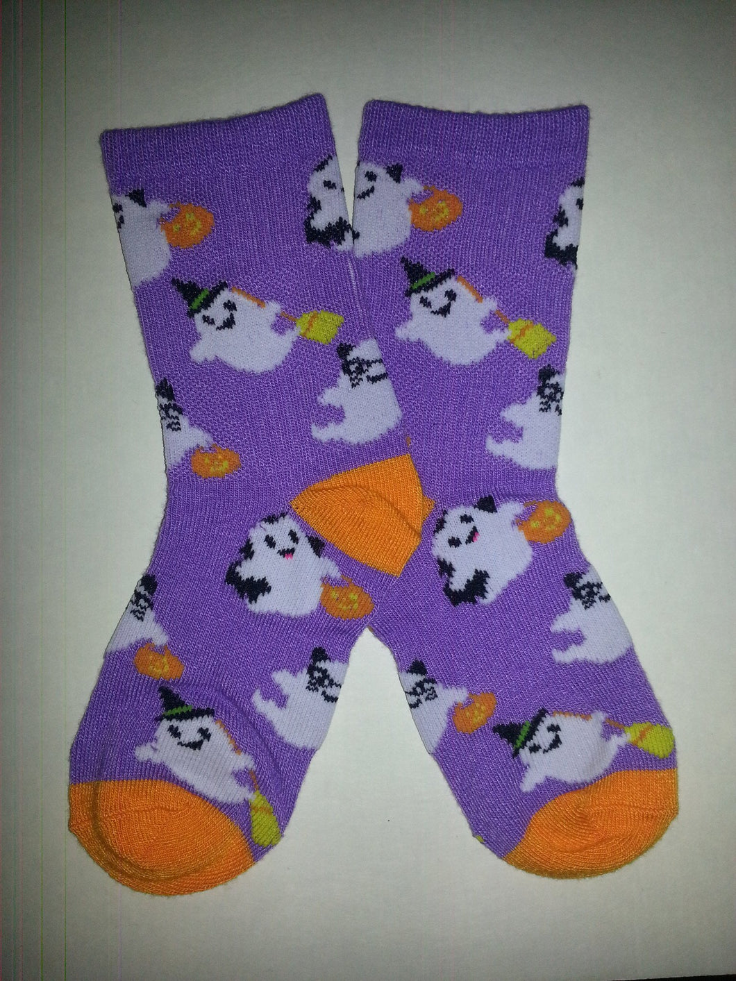 Ghost on Purple Crew Socks