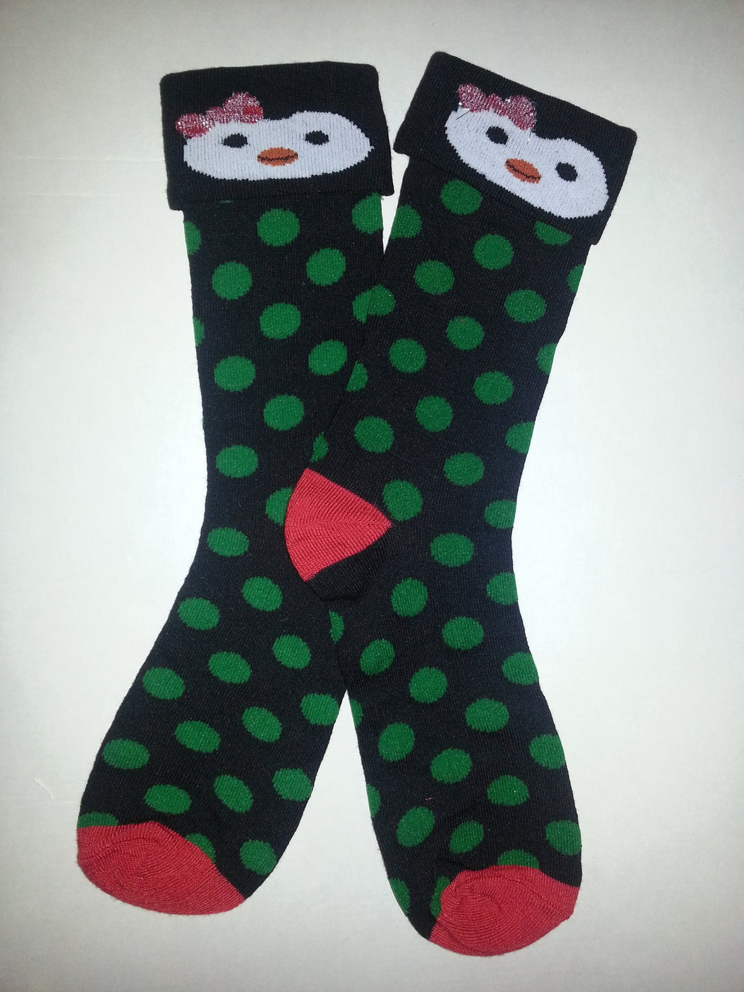Penguin Red & Green Crew Socks