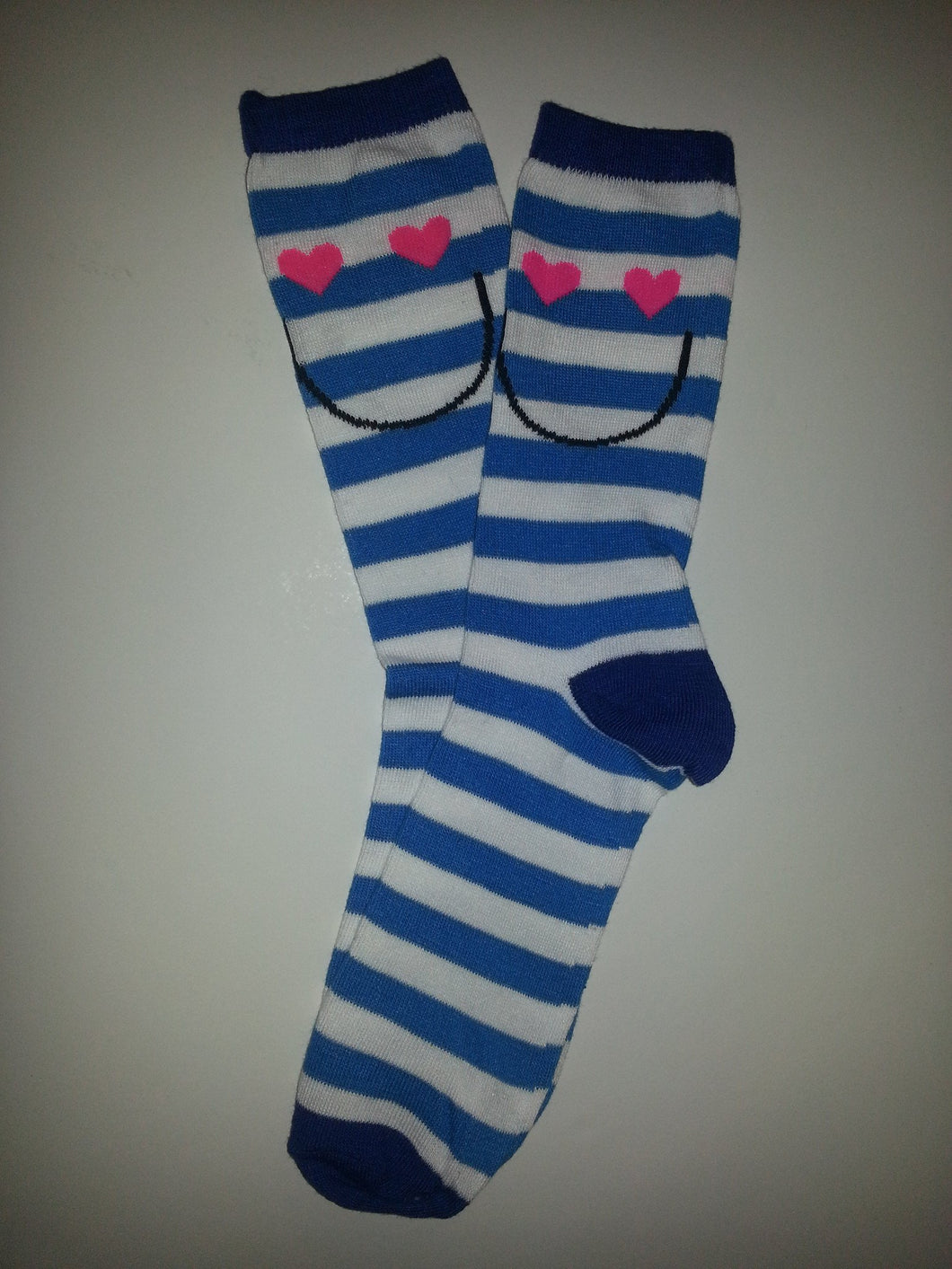 Blue Heart Face Stripe Crew Socks
