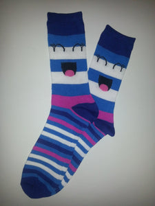 Blue Face Stripe Crew Socks