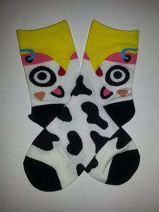 Cow Head Low Crew Socks