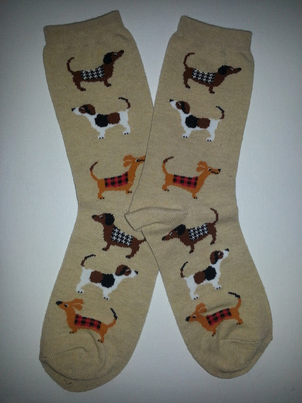 Dog Sides on Tan Crew Socks