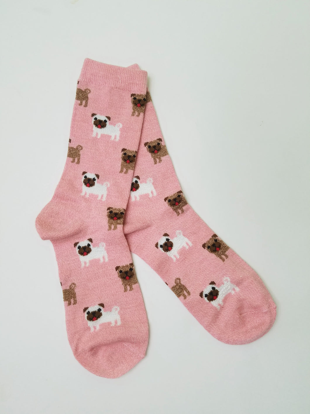 Dogs on Pink Crew Socks