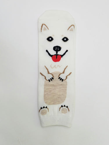 Dog White and Tan Low Crew Socks
