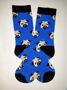 Pug Head Crew Socks