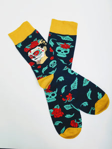 Frida Kahlo Skull Rose Crew Socks (BACKORDERED)