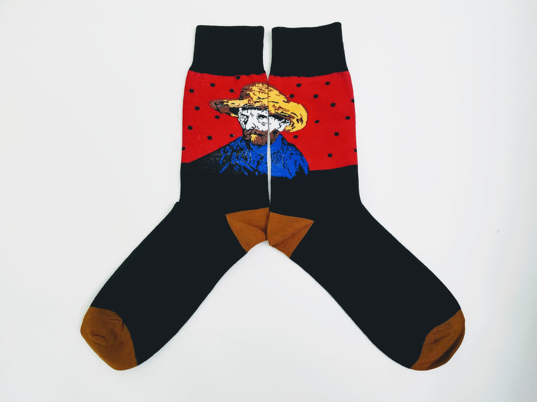 Vincent Van Gogh Black & Red Crew Socks