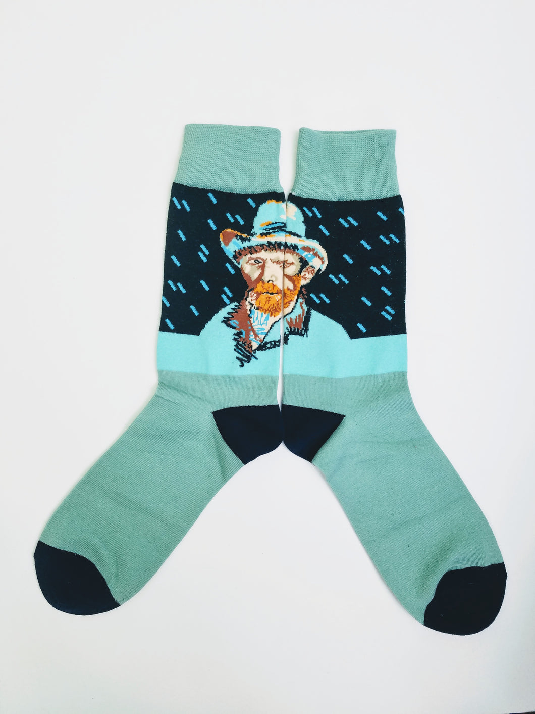 Vincent Van Gogh Teal Crew Socks