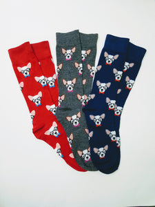 Dog with Glasses & Bow Tie Crew Socks