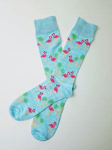 Flamingo Light Blue Crew Socks