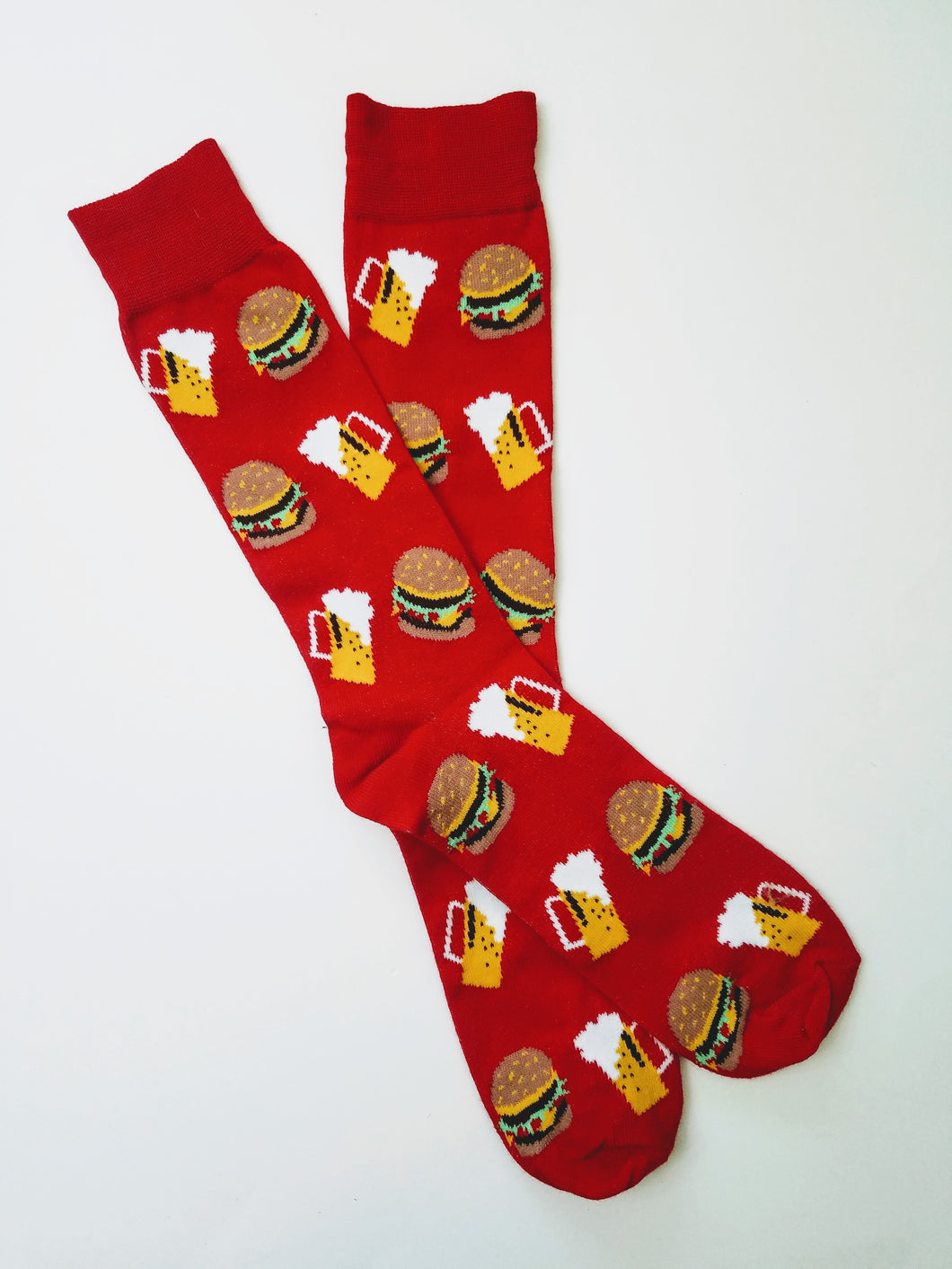 Burger & Beer Red Crew Socks