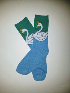 Swan Glitter Lake Crew Socks