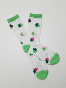 Clovers Green & Pink Crew Socks
