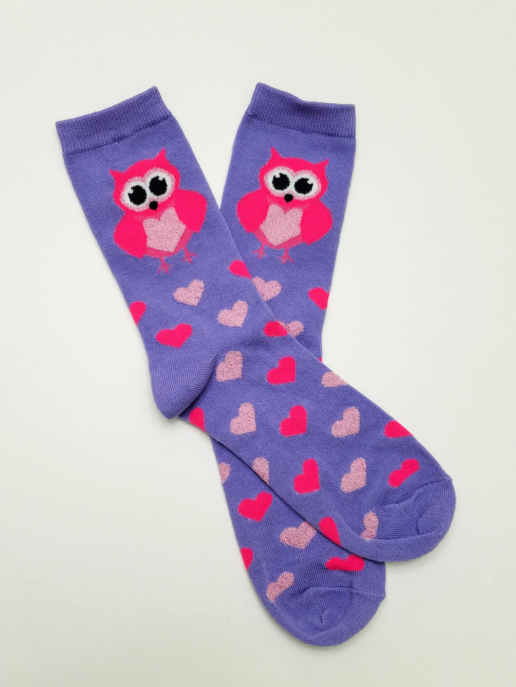 Owl Heart Purple Crew Socks