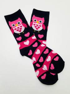 Owl Hearts Pink & Black Crew Socks