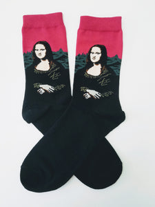 Mona Lisa (with Pink) by Leonardo da Vinci Crew Socks