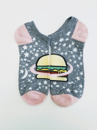 Hamburger in Space Ankle Socks