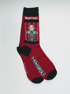 Monopoly Jail Red Crew Socks