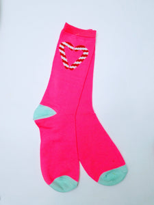 Candy Cane Heart Crew Socks