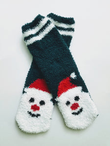 Fuzzy Striped Santa Crew Socks