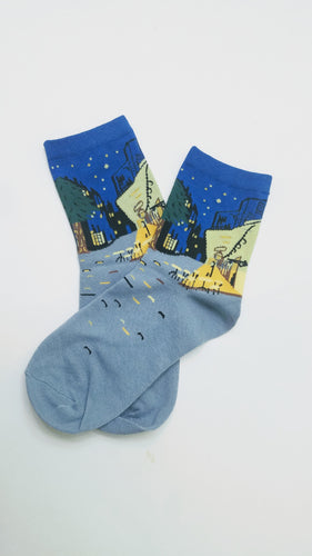 Café Terrace at Night by Vincent Van Gogh Low Crew Socks