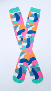 Color Blob Pattern Knne High Socks