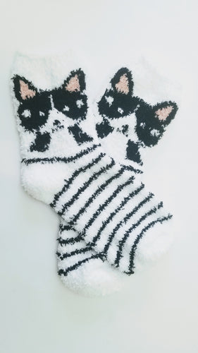 Fuzzy Animal Striped Crew Socks