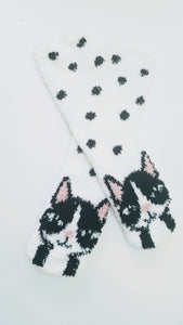 Fuzzy Cat Polka Dot Crew Socks