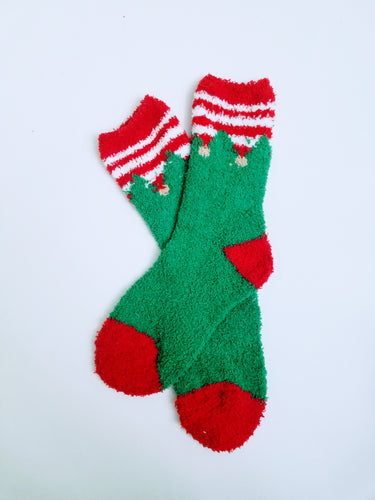 Fuzzy Elf Bells Crew Socks