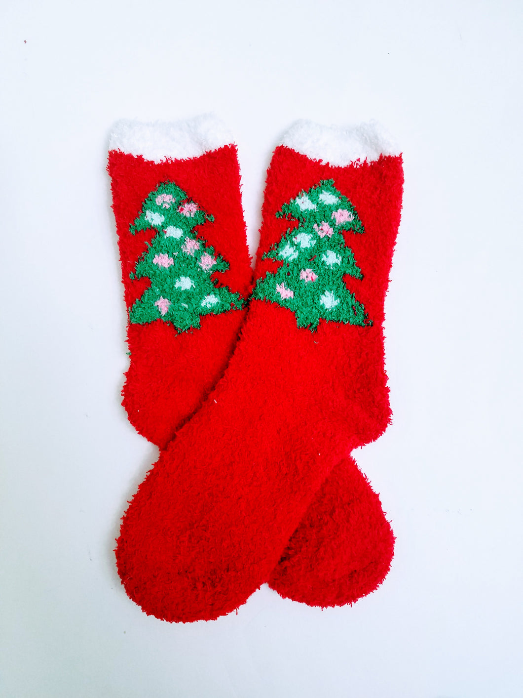 Fuzzy Christmas Tree Crew Socks