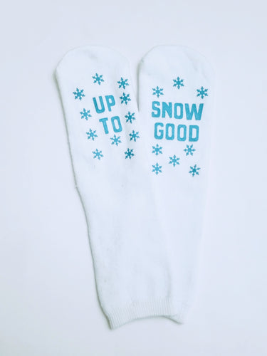 Up to Snow Good Anti Slip Gripper Thick White Low Crew Socks
