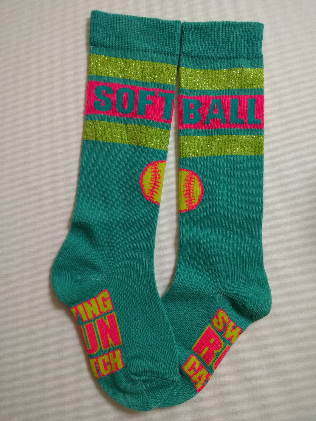 Softball Teal Knee High Socks