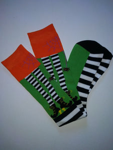 Green Stripe Feet Knee High Socks