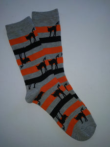 Cats on Orange & Black Stripes Crew Socks