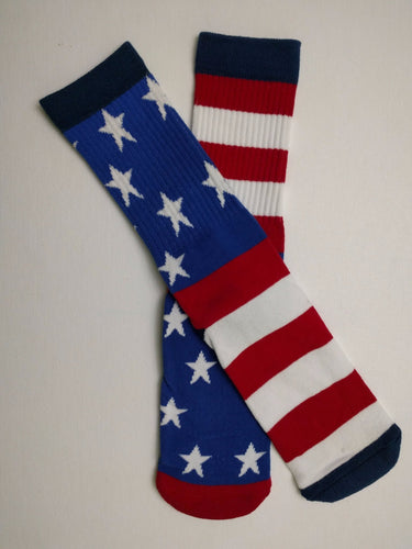 American Flag Mixed Star Thick Athletic Crew Socks